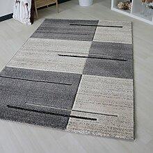 Designer Teppich Modern in Kurzflor Grau für Wohn- und Jugendzimmer geometrisch kariert mit streifen trendig in verschiedenen Größen (160 x 230 cm)