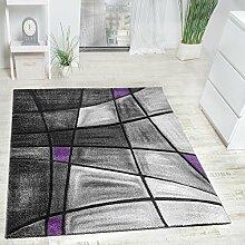 Designer Teppich Modern Kariert mit Handgearbeitetem Konturenschnitt Grau Lila, Grösse:120x170 cm