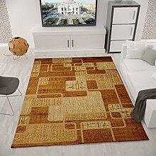 Designer Teppich Modern Kariert, Retro Muster, Meliert in Orange Rot - ÖKO TEX Zertifiziert, VIMODA; Maße: 60x300cm