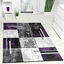 Designer Teppich Modern Konturenschnitt Meliert Karo Muster Lila Grau Schwarz, Grösse:160x230 cm