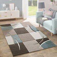 Designer Teppich Modern Konturenschnitt Pastellfarben Mit Karo Muster In Beige Türkis, Grösse:160x230 cm