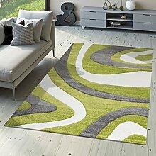 Designer Teppich Modern Kurzflor Mallorca mit Wellen Muster in Grün Schwarz Weiß, Größe:240x340 cm
