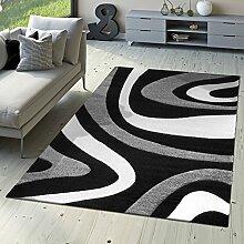 Designer Teppich Modern Kurzflor Mallorca mit Wellen Muster Grau Schwarz Creme, Größe:240x340 cm