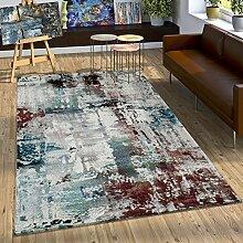 Designer Teppich Modern Leinwand Optik Abstrakt Splash Brushed Türkis Rot Creme, Grösse:120x170 cm