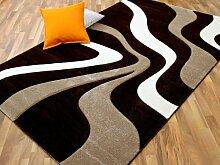 Designer Teppich Modern Maui Beige Braun Wellen in