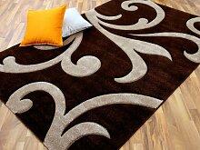 Designer Teppich Modern Maui Braun Ranken in 4