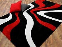 Designer Teppich Modern Maui Schwarz Rot Wellen in