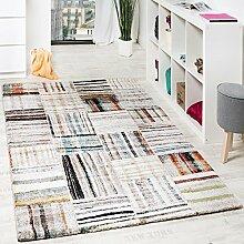 Designer Teppich Modern Nomaden Stil Kariert Mit Streifen Multicolor Creme, Grösse:160x230 cm