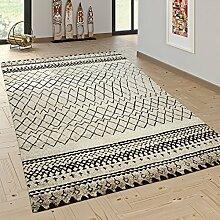 Designer Teppich Modern Skandinavisch Trend Zick Zack Muster Schwarz Creme, Grösse:160x230 cm