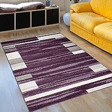 Designer Teppich Modern Wohnzimmer - Muster Meliert mit Bordüre in Lila - Kurzflor Teppiche Neu - Prestige Kollektion 80 x 150 cm