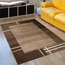 Designer Teppich Modern Wohnzimmer - Muster Meliert mit Bordüre in Beige - Kurzflor Teppiche Neu - Prestige Kollektion 160 x 220 cm
