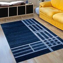 Designer Teppich Modern Wohnzimmer - Muster Meliert mit Streifen in Blau - Kurzflor Teppiche Neu - Prestige Kollektion 80 x 150 cm