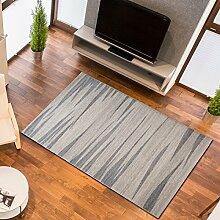Designer Teppich Modern Wohnzimmer - Muster Meliert mit Streifen in Creme - Kurzflor Teppiche Neu - Prestige Kollektion 160 x 220 cm