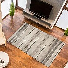 Designer Teppich Modern Wohnzimmer - Muster Meliert mit Streifen in Beige- Kurzflor Teppiche Neu - Prestige Kollektion 190 x 270 cm
