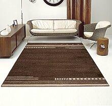 Designer Teppich Modern Wohnzimmer - Muster Meliert mit Streifen in Braun - Kurzflor Teppiche Neu - Prestige Kollektion 160 x 220 cm