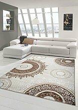 Designer Teppich Moderner Teppich Wohnzimmer Teppich Klassisch gemustert Kreis Ornamente in Braun Taupe Beige Creme Meliert Größe 80 x 300 cm