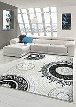 Designer Teppich Moderner Teppich Wohnzimmer Teppich Klassisch gemustert Kreis Ornamente in Creme Grau Schwarz Größe 80x150 cm