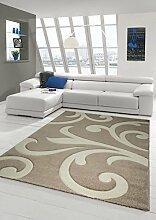Designer Teppich Moderner Teppich Wohnzimmer Teppich Kurzflor Teppich mit Konturenschnitt Wellenmuster Braun Beige Mocca Größe 80 x 300 cm