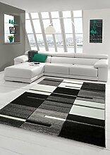 Designer Teppich Moderner Teppich Wohnzimmer Teppich Kurzflor Teppich mit Konturenschnitt Karo Muster Grau Schwarz Weiss Größe 80 x 300 cm