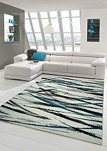 Designer Teppich Moderner Teppich Wohnzimmer Teppich Kurzflor Teppich mit Gestreiften Farben Cream Türkis Grau Schwarz Größe 160x230 cm