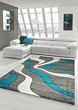 Designer Teppich Moderner Teppich Wohnzimmer Teppich Kurzflor Teppich mit Konturenschnitt Wellenmuster Türkis Grau Weiss Größe 160x230 cm