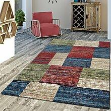 Designer Teppich Multicolour Modern Kurzflor Bunt Meliert, Größe:160x230 cm
