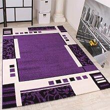 Designer Teppich Muster in Lila Schwarz Weiss