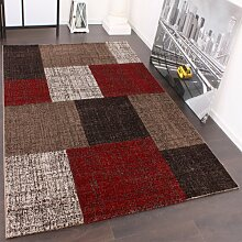 Designer Teppich Muster Karo Creme Rot Braun Meliert, Grösse:160x230 cm