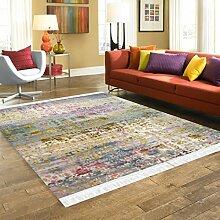 Designer Teppich Retro Wohnzimmer Esszimmer Kurzflor Muster Klassisch Used Bunt (80 x 150 cm)