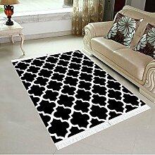 Designer Teppich Retro Wohnzimmer Esszimmer Kurzflor Muster Klassisch Schwarz-Weiss (160 x 230 cm)