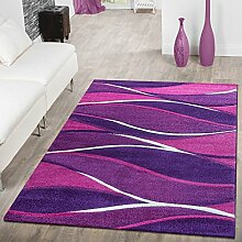 Designer Teppich Toledo Modern Meliert mit Streifen in Lila Purpur Violett Creme, Größe:200x290 cm