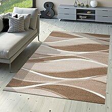 Designer Teppich Toledo Modern Meliert Streifen mit Beige-Töne Braun Elfenbein, Größe:80x150 cm