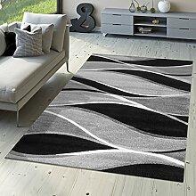 Designer Teppich Toledo Modern Meliert Streifen mit Grau-Töne in Schwarz Weiß, Größe:80x150 cm