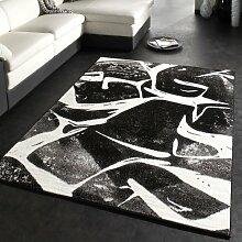 Designer Teppich Trendiger Kurzflor Teppich in Schwarz Grau Anthrazit Weiss