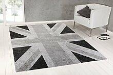 Designer Teppich Union Jack Vintage Teppich Flagge UK in Grau (185x275 cm)