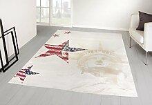 Designer Teppich USA Amerika Freiheitsstatue Lady liberty Sterne (160x230 cm)