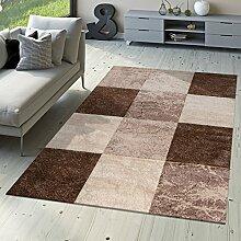 Designer Teppich Valencia Modern Marmor Optik Kariert Meliert Braun Beige Creme, Größe:240x340 cm