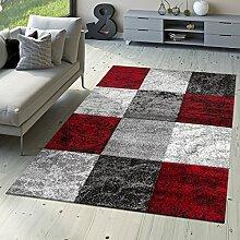 Designer Teppich Valencia Modern mit Marmor Optik Kariert Meliert Rot Grau Weiß, Größe:160x230 cm