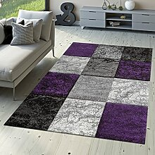 Designer Teppich Valencia Modern mit Marmor Optik Kariert Meliert Lila Grau Weiß, Größe:80x300 cm