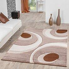 Designer Teppich Venlo mit Konturenschnitt Kreis Wellen Verlauf in Beige Creme, Größe:80x300 cm