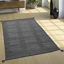Designer Teppich Webteppich Kelim Handgewebt 100% Baumwolle Modern Meliert Grau, Grösse:200x290 cm