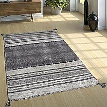 Designer Teppich Webteppich Kelim Handgewebt 100% Baumwolle Modern Gemustert Grau, Grösse:240x340 cm
