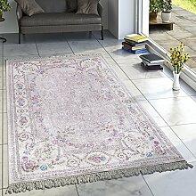 Designer Teppich Wohnzimmer Teppiche Bedruckt Bordüre Floral Pastell Rosa Creme, Grösse:160x230 cm
