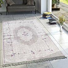 Designer Teppich Wohnzimmer Teppiche Bedruckt Orient Muster Pastell Creme Lila, Grösse:80x300 cm