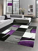 Designer Teppich Wohnzimmerteppich karo lila grau