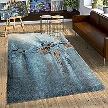 Designer Teppich Wohzimmer Ölgemälde Stil Hoch Tief Optik In Blau Grau Orange, Grösse:120x170 cm