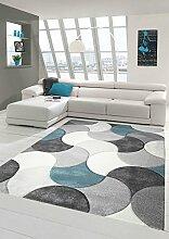 Designer und Moderner Teppich Kurzflor mit Tropfen Muster in Türkis Grau Beige Größe 80 x 300 cm