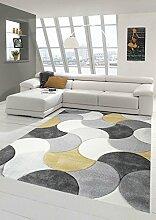 Designer und Moderner Teppich Kurzflor mit Tropfen Muster in Gelb Grau Beige Größe 160x230 cm