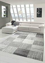 Designer und Moderner Teppich Wohnzimmerteppich mit Karomuster in Beige Grau Größe 120x170 cm