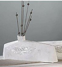 Designer-Vase Leaf XXL antik-weiß 13 x 53 cm